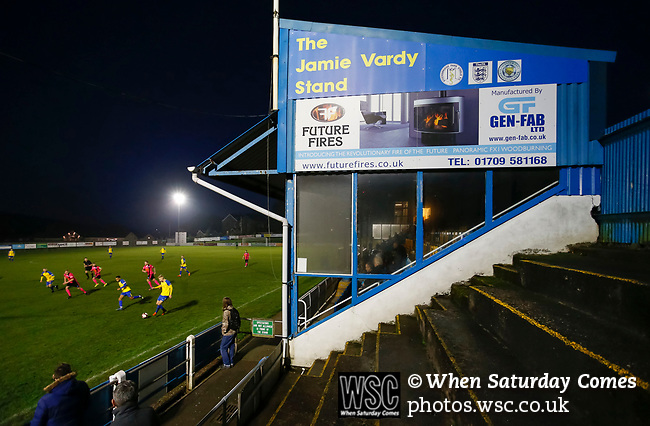 Stocksbridge attack in front of the Jamie Vardy Stand in added time. Stocksbridge Park Steels v Pickering Town,  Evo-Stik East Division, 17th November 2018. Stocksbridge Park Steels were born from the works team of the local British Steel plant that dominates the town north of Sheffield.<br />