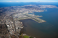 high overview aerial photograph of Burlingame, San Francisco International airport SFO South San Francisco, San Bruno Mountain, and the city of San Francisco