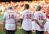PHILADELPHIA - AUGUST 7: Former Philadelphia Phillies pitchers Jim Bunning #14 and Steve Carlton #32 stand with former third baseman Mike Schmidt #20 as they take part in the Alumni Night celebration before a game between the Philadelphia Phillies and the New York Mets at Citizens Bank Park on August 7, 2010 in Philadelphia, Pennsylvania. The Mets won 1-0. (Photo by Hunter Martin/Getty Images) *** Local Caption *** Mike Schmidt;Steve Carlton;Jim Bunning