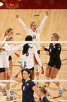 23 November 2007: Stanford Cardinal Jessica Fishburn (11), Erin Waller, Bryn Kehoe, Franci Girard, and Gabi Ailes during Stanford's 30-32, 30-19, 23-30, 30-22, 16-14 win against the California Golden Bears at Maples Pavilion in Stanford, CA.