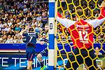 Steffen Faeth (#23 Rhein-Neckar Loewen) \Dominik CLAUS (#7 SG Bietigheim)\ Juergen MUELLER (#12 SG Bietigheim)\ beim Spiel in der Handball Bundesliga, SG BBM Bietigheim - Rhein Neckar Loewen.<br /> <br /> Foto &copy; PIX-Sportfotos *** Foto ist honorarpflichtig! *** Auf Anfrage in hoeherer Qualitaet/Aufloesung. Belegexemplar erbeten. Veroeffentlichung ausschliesslich fuer journalistisch-publizistische Zwecke. For editorial use only.