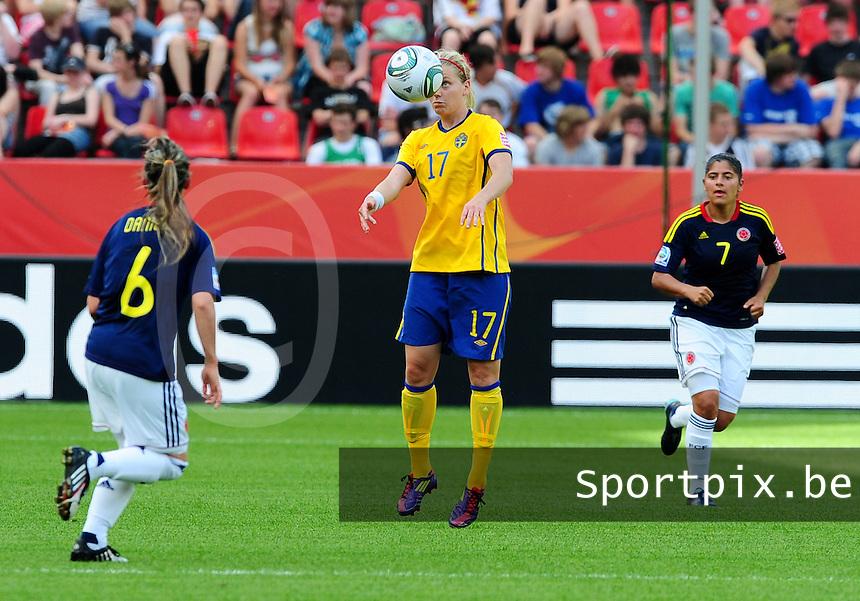 Fifa Women's World Cup Germany 2011 : Colombia - Sweden at Bayarena Leverkusen : Lisa Dahlkvist met de balcontrole.foto DAVID CATRY / Vrouwenteam.be