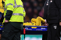 27th January 2020; Vitality Stadium, Bournemouth, Dorset, England; English FA Cup Football, Bournemouth Athletic versus Arsenal; Shkodran Mustafi of Arsenal is injured and stretchered off the pitch