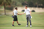 HOWEY IN THE HILLS, FL - MAY 19: Stephen Shephard of Huntingdon College, left, and Cameron Willis of Wittenberg University shake hands on the 18th hole during the Division III Men's Golf Championship held at the Mission Inn Resort and Club on May 19, 2017 in Howey In The Hills, Florida. (Photo by Cy Cyr/NCAA Photos via Getty Images)