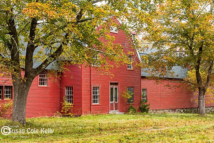 Red barn and foliage at Hamilton Station in Bar Harbor, Maine, USA