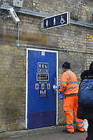 Cleaning train station toilet handles during Coronavirus outbreak in London, England on March 18, 2020.<br /> CAP/JOR<br /> ©JOR/Capital Pictures