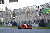 25th March 2018, Melbourne Grand Prix Circuit, Melbourne, Australia; Melbourne Formula One Grand Prix, race day; Sebastian Vettel of Germany driving the (5) Ferrari SF71H crosses the line as race winner