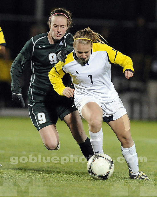 The University of Michigan women's soccer team beat Michigan State in overtime, 2-1, at the U-M Soccer Stadium in Ann Arbor, Mich., on October 10, 2012.