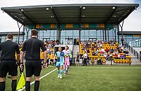 1st Half Captain Sam Saunders of Wycombe Wanderers walks his team out during the pre season friendly match between Slough Town and Wycombe Wanderers at Arbour Park Stadium, Slough, England on 8 July 2017. Photo by Andy Rowland.