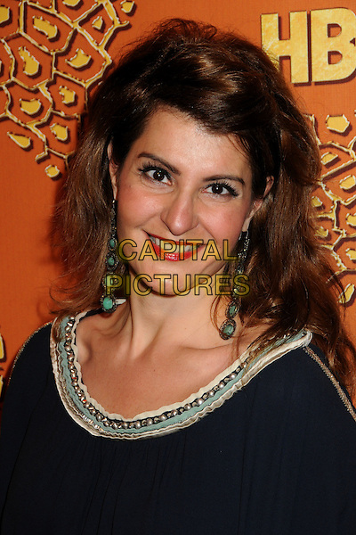 NIA VARDALOS.HBO's 2010 67th Golden Globe Awards Post Party held at the Beverly Hilton Hotel, Beverly Hills, California, USA..January 17th, 2009.globes headshot portrait dangling earrings black blue navy silver trim .CAP/ADM/BP.©Byron Purvis/Admedia/Capital Pictures