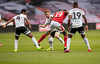 7th July 2020; City Ground, Nottinghamshire, Midlands, England; English Championship Football, Nottingham Forest versus Fulham; Sammy Ameobi of Notts Forest surrounded and challenged by Fulham players