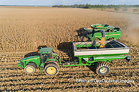 63801-12907 Harvesting corn and unloading into grain cart in fall-aerial  Marion Co. IL