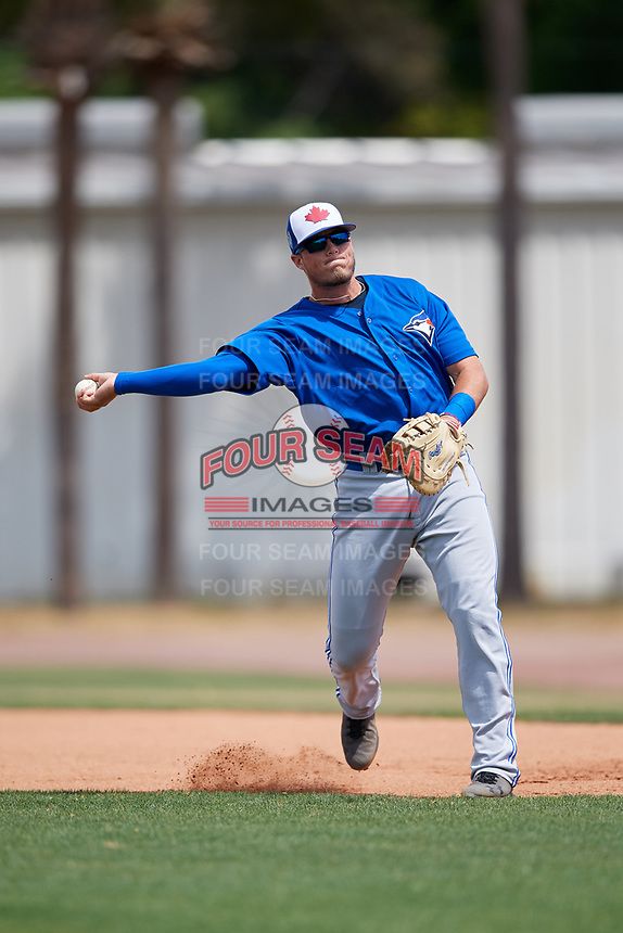 Toronto Blue Jays Kacy Clemens (38) during warmups before a Minor League Spring Training game against the Philadelphia Phillies on March 30, 2018 at Carpenter Complex in Clearwater, Florida.  (Mike Janes/Four Seam Images)