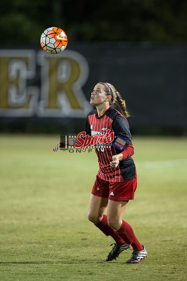 Hannah Konermann (19) of the Louisville Cardinals waits for the ball to come down during first half action against the Wake Forest Demon Deacons at Spry Soccer Stadium on October 31, 2015 in Winston-Salem, North Carolina.  The Demon Deacons defeated the Cardinals 2-1.  (Brian Westerholt/Sports On Film)