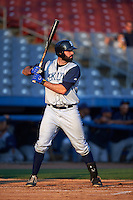 Brooklyn Cyclones first baseman Zach Mathieu (32) at bat during the first game of a doubleheader against the Connecticut Tigers on September 2, 2015 at Senator Thomas J. Dodd Memorial Stadium in Norwich, Connecticut.  Brooklyn defeated Connecticut 7-1.  (Mike Janes/Four Seam Images)