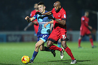 \w17 and Nigel Atangana of Leyton Orient (15) during the Sky Bet League 2 match between Wycombe Wanderers and Leyton Orient at Adams Park, High Wycombe, England on 17 December 2016. Photo by David Horn / PRiME Media Images.