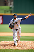 New Orleans Baby Cakes relief pitcher Hunter Cervenka (30) delivers a pitch during a game against the Nashville Sounds on May 1, 2017 at First Tennessee Park in Nashville, Tennessee.  Nashville defeated New Orleans 6-4.  (Mike Janes/Four Seam Images)