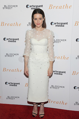 NEW YORK, NY - OCTOBER 09: Actress Claire Foy attends the 'Breathe' New York special screening at AMC Loews Lincoln Square 13 theater on October 9, 2017 in New York City.  Photo Credit: John Palmer/MediaPunch