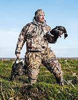 Outfoorlife Editor John Snow after brant waterfowl hunt in Cold Bay, Alaska, Monday, October 31, 2016. The Izembek National Wildlife Refuge lies on the northwest coastal side of central Aleutians East Borough along the Bering Sea and Cold Bay. <br /> <br /> Photo by Matt Nager