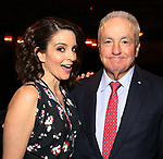 "Tina Fey and Lorne Michaels during the Actors' Equity Opening Night Gypsy Robe Ceremony honoring Brendon Stimson for ""Mean Girls"" at the August Wilson Theatre Theatre on April 8, 2018 in New York City."