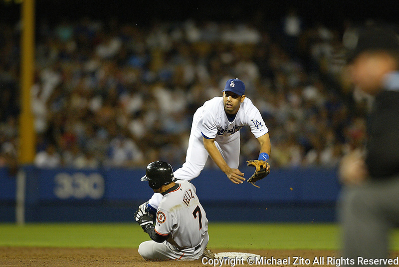Alex Cora In a MLB game played at Dodger Stadium between the Los Angeles Dodgers and the San Francisco Giants