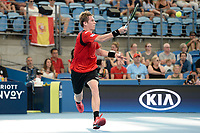 10th January 2020; Sydney Olympic Park Tennis Centre, Sydney, New South Wales, Australia; ATP Cup Australia, Sydney, Day 8; Belgium versus Spain; Kimmer Coppejans of Belgium versus Roberto Bautista Agut of Spain; Kimmer Coppejans of Belgium hits a forehand to Roberto Bautista Agut of Spain - Editorial Use