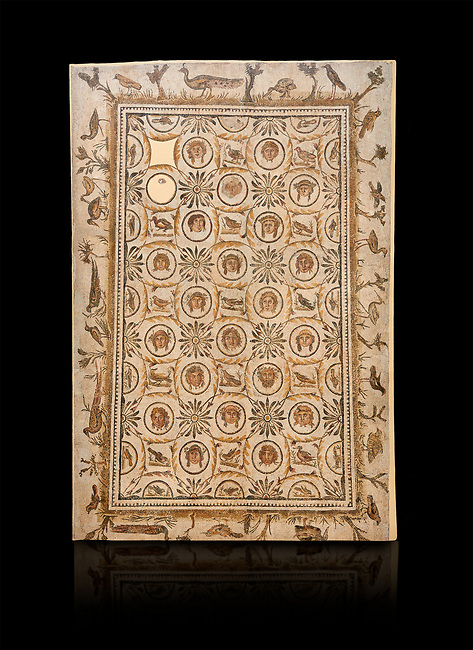 Picture of a Roman Dionysiac mosaics design depicting masks and birds, from the ancient Roman city of Thysdrus. 3rd century AD, House of Silenus. El Djem Archaeological Museum, El Djem, Tunisia. Against a black background