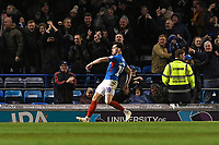 John Marquis of Portsmouth celebrates scoring the third goal with a dance in front of home fans during Portsmouth vs Exeter City, Leasing.com Trophy Football at Fratton Park on 18th February 2020