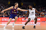 Turkish Airlines Euroleague 2018/2019. <br /> Regular Season-Round 16.<br /> FC Barcelona Lassa vs Darussafaka Tekfen Istanbul: 97-65.<br /> Jaka Blazic vs Toney Douglas.