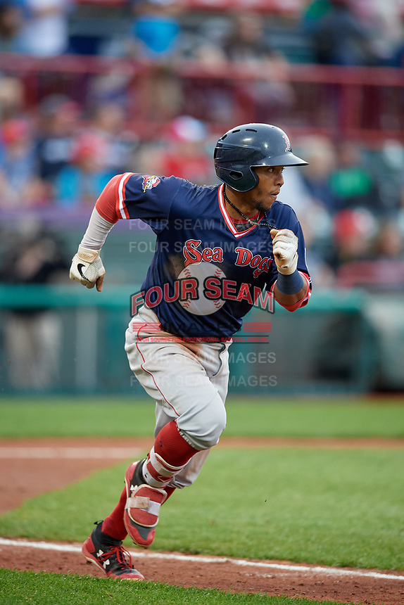 Portland Sea Dogs Jhon Nunez (2) runs to first base during an Eastern League game against the Erie SeaWolves on June 17, 2019 at UPMC Park in Erie, Pennsylvania.  Portland defeated Erie 6-3.  (Mike Janes/Four Seam Images)