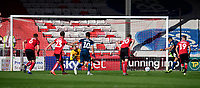 Bristol Rovers' Jonson Clarke-Harris scores the opening goal from the penalty spot, sending Lincoln City's Josh Vickers the wrong way<br /> <br /> Photographer Chris Vaughan/CameraSport<br /> <br /> The EFL Sky Bet League One - Lincoln City v Bristol Rovers - Saturday 14th September 2019 - Sincil Bank - Lincoln<br /> <br /> World Copyright © 2019 CameraSport. All rights reserved. 43 Linden Ave. Countesthorpe. Leicester. England. LE8 5PG - Tel: +44 (0) 116 277 4147 - admin@camerasport.com - www.camerasport.com