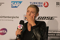 Russia's Maria Sharapova is visibly upset during Press Conference after winning her 1st match during the WTA  Porsche Tennis Grand Prix  at the Porsche Arena,Stuttgart  on 26th April 2017 Picture  Dave Shopland/BPI