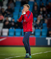 Goalkeeper Aaron Ramsdale (Bournemouth) of England U20 at half time during the International friendly match between England U20 and Netherlands U20 at New Bucks Head, Telford, England on 31 August 2017. Photo by Andy Rowland.