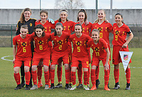 20180314 - TUBIZE , BELGIUM : Belgian team with Faye Lammertijn (GC)   Perrine Balant (7)   Marie detruyer (8)   Loredana Humartus (3)   Jill Janssens (2)   Tess Lameir (10)   Gaelle Nierynck (5)   Fleur Pauwels (6)   Imani Prez (11)   Zoe Van de Cloot (4)   Luna Vanzeir (9)   pictured during the friendly female soccer match between Women under 15 teams of  Belgium and Gemany , in Tubize , Belgium . Wednesday 14 th March 2018 . PHOTO SPORTPIX.BE / DIRK VUYLSTEKE