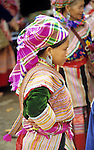 Flower Hmong Girl 03 - Traditionally dressed Flower Hmong girl at the weekly market in the small town of Bac Ha, in the northwest of Viet Nam.