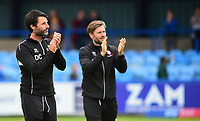Lincoln City manager Danny Cowley and Nicky Cowley applauds the fans at the final whistle<br /> <br /> Photographer Andrew Vaughan/CameraSport<br /> <br /> The EFL Sky Bet League One - Macclesfield Town v Lincoln City - Saturday 15th September 2018 - Moss Rose - Macclesfield<br /> <br /> World Copyright &copy; 2018 CameraSport. All rights reserved. 43 Linden Ave. Countesthorpe. Leicester. England. LE8 5PG - Tel: +44 (0) 116 277 4147 - admin@camerasport.com - www.camerasport.com