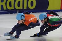 SHORT TRACK: DORDRECHT: Sportboulevard, 14-02-2016, ISU World Cup Short Track Final 2015/2016, Dennis Visser (#178), Yuri Confortola (#21), ©photo Martin de Jong