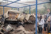 Capaci, the twentieth anniversary commemoration of the massacre: the car destroyed by bombs exposed to the public.<br /> Capaci, commemorazione del ventennale della strage: l'auto distrutta dalle bombe esposta al pubblico.
