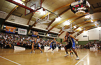 Jacob Ashby takes a penalty shot during the NZ Secondary Schools Basketball Championships match between Fraser High School and St Patricks College at Arena Manawatu, Palmerston North, New Zealand on Saturday 4 October 2008. Photo: Dave Lintott / lintottphoto.co.nz