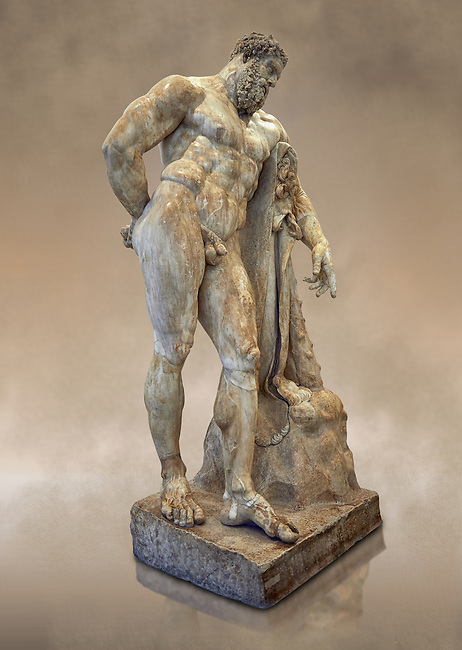 Full length view of end of 2nd century beginning of 3rd century AD Roman marble sculpture of Hercules at rest copied from the second half of the 4th century BC Hellanistic Greek original,  inv 6001, Farnese Collection, Museum of Archaeology, Italy
