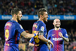 Luis Suarez of FC Barcelona (L) celebrates his goal with his teammate Paulinho Maciel of FC Barcelona (R) during the La Liga 2017-18 match between FC Barcelona and Deportivo La Coruna at Camp Nou Stadium on 17 December 2017 in Barcelona, Spain. Photo by Vicens Gimenez / Power Sport Images