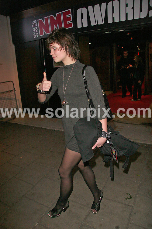 **ALL ROUND PICTURES FROM SOLARPIX.COM**.**WORLDWIDE SYNDICATION RIGHTS**.Pixie Geldof leaving the 2007 Shockwaves NME Awards held at the Hammersmith Palais in London on 01.03.07....JOB REF:    3431   SSD     DATE: 01.03.07.**MUST CREDIT SOLARPIX.COM OR DOUBLE FEE WILL BE CHARGED* *UNDER NO CIRCUMSTANCES IS THIS IMAGE TO BE REPRODUCED FOR ANY ONLINE EDITION WITHOUT PRIOR PERMISSION*
