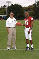 7 August 2006: Stanford Cardinal head coach Walt Harris and Jerome Jackson during Stanford Football's Team Photo Day at Stanford Football's Practice Field in Stanford, CA.