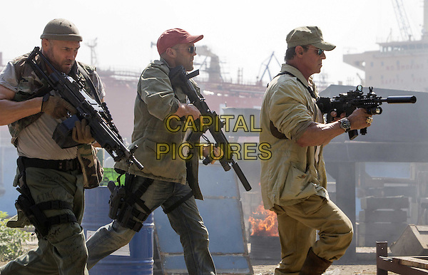 Randy Couture, Jason Statham, Sylvester Stallone<br /> in The Expendables 3 (2014) <br /> *Filmstill - Editorial Use Only*<br /> CAP/NFS<br /> Image supplied by Capital Pictures