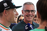 Sam Bennett (IRL) Bora-Hansgrohe being interviewed by Eurosports Brian Smith, Orla Chennaoui and Sir Bradley Wiggins after he wins Stage 3 of La Vuelta 2019 running 188km from Ibi. Ciudad del Juguete to Alicante, Spain. 26th August 2019.<br /> Picture: Eoin Clarke | Cyclefile<br /> <br /> All photos usage must carry mandatory copyright credit (© Cyclefile | Eoin Clarke)