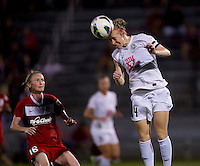 Becky Sauerbrunn (4) of FC Kansas City heads the ball at the Maryland SoccerPlex in Boyds, MD. The Washington Spirit tied FC Kansas City, 1-1.