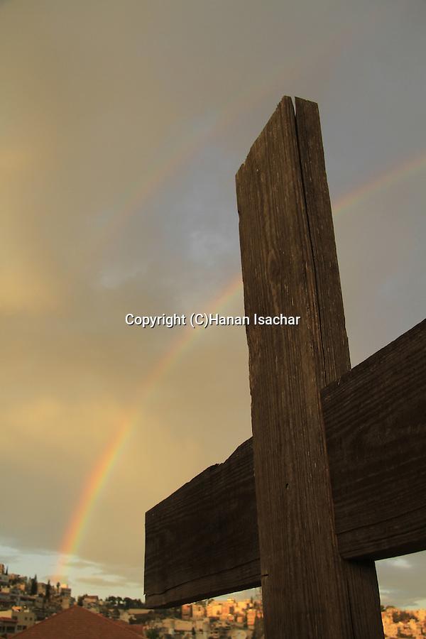 Israel, a rainbow over Mary of Nazareth International Center