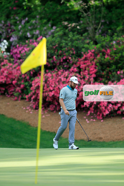 Tyrrell Hatton (ENG) on the 13th green during the 1st round at the The Masters , Augusta National, Augusta, Georgia, USA. 11/04/2019.<br /> Picture Fran Caffrey / Golffile.ie<br /> <br /> All photo usage must carry mandatory copyright credit (© Golffile   Fran Caffrey)