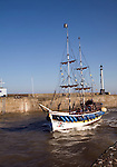 A boat decked as a pirate ship offering trips, Bridlington, Yorkshire, England