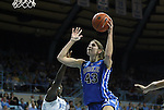26 February 2012: Duke's Allison Vernerey (FRA) (43) shoots over North Carolina's Laura Broomfield (left). The Duke University Blue Devils defeated the University of North Carolina Tar Heels 69-63 at Carmichael Arena in Chapel Hill, North Carolina in an NCAA Division I Women's basketball game.